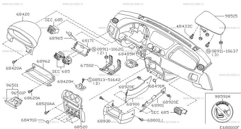 Opbergvakje Dashboard Nissan Micra K11 68962-5F700