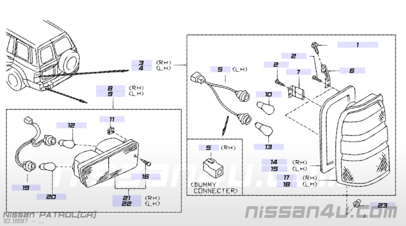 Achterlicht links Nissan Patrol Y61 26559-VB500