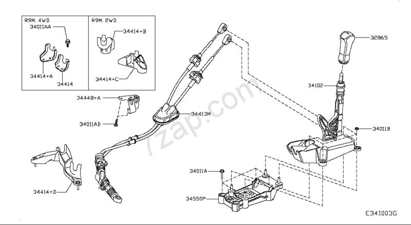 Bevestigingsbeugel schakelkabel Nissan Qashqai J11