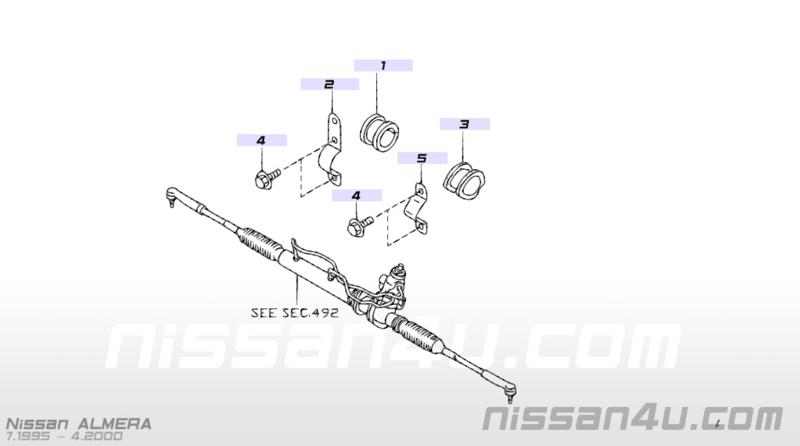 Bevestigingsbeugel stuurhuis links Nissan 54449-50Y00 B13