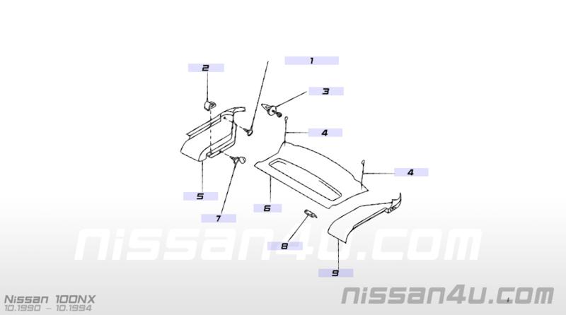 Hoedenplankpaneel Nissan 100NX B13 rechts 79911-61Y60