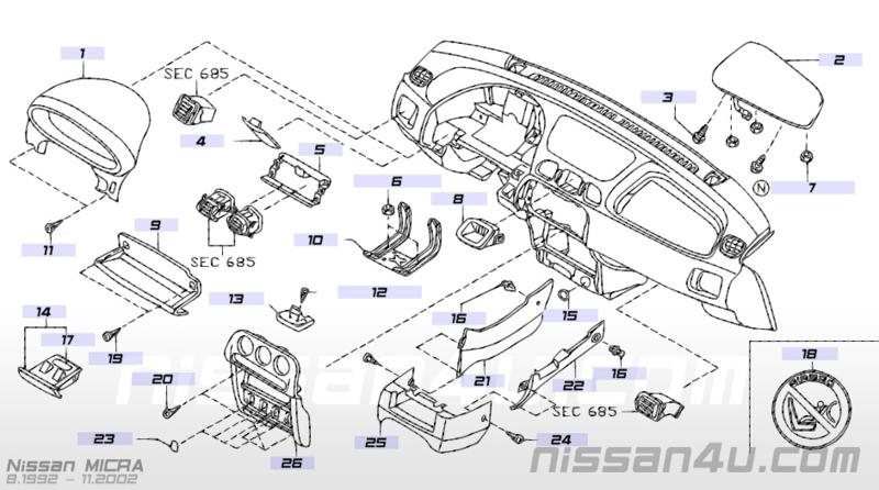 Middenpaneel dashboard Nissan Micra K11 68260-6F620