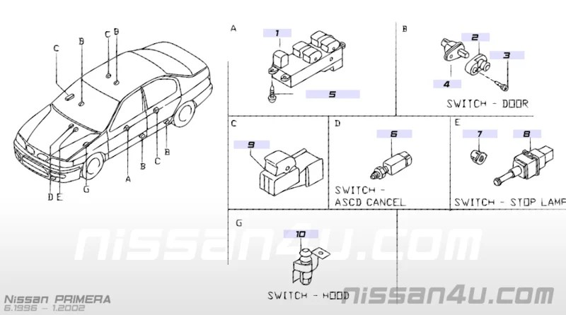 Raambedieningsschakelaar Nissan Primera P11