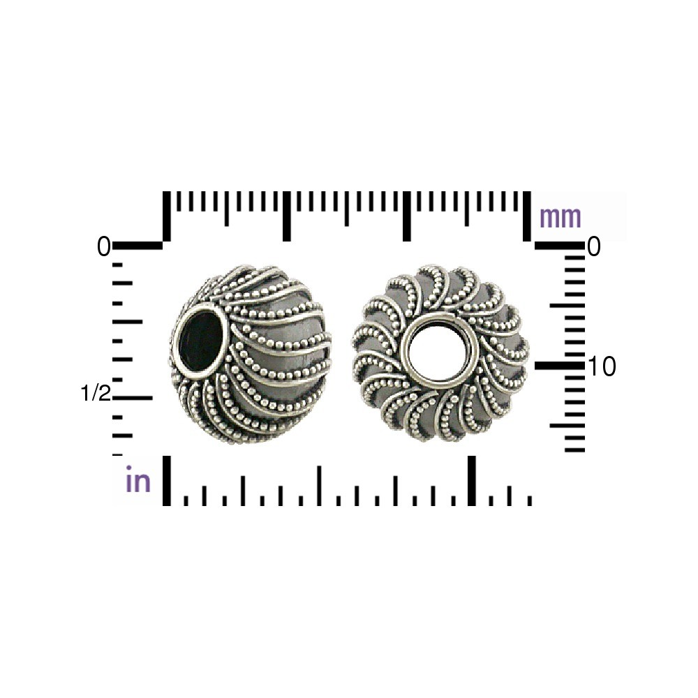 Silver Large Hole Bead with Swirl Granulation 14x10mm