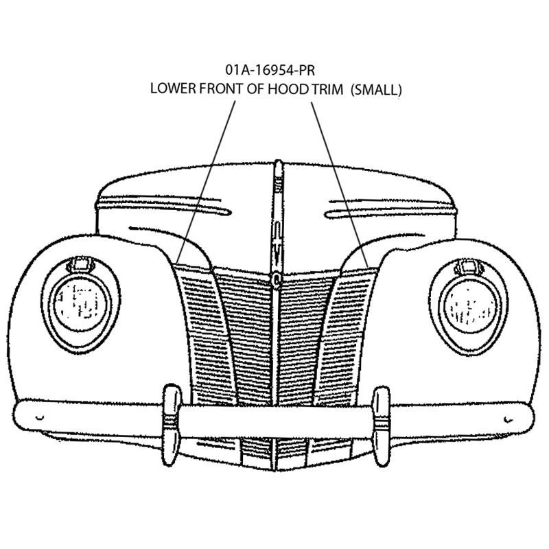 HOOD TRIM-LOWER ABOVE GRILLE Shop Ford Restoration Parts