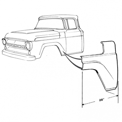 OS** FT FENDER LOWER REAR PANE Shop Ford Restoration Parts