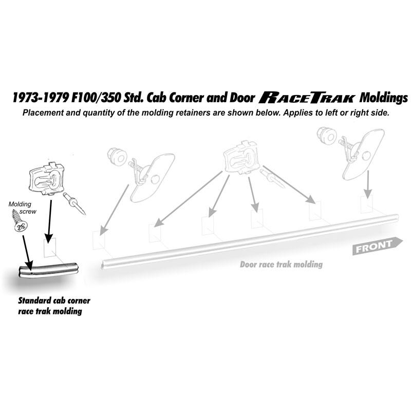 MOULDING RH REAR CAB CORNER R/ Shop Ford Restoration Parts