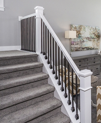 2020 Staircase Design Trends Wood Metal Stairway Design 20020   White And Grey Banister   Newel Post   Narrow Awkward Staircase   Stair Railing   Entryway   Wall