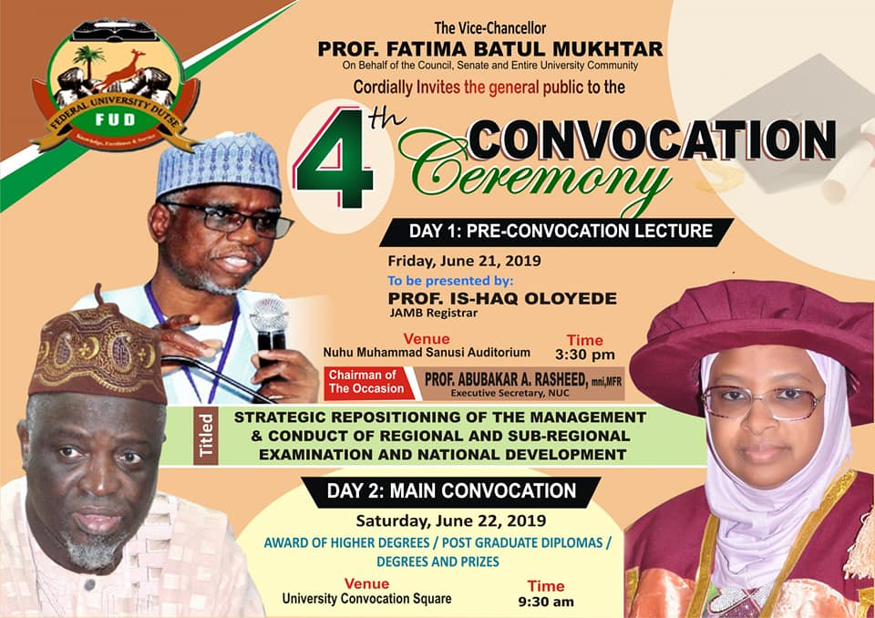 Federal University Dutse 4th Convocation Ceremony Programme of Events