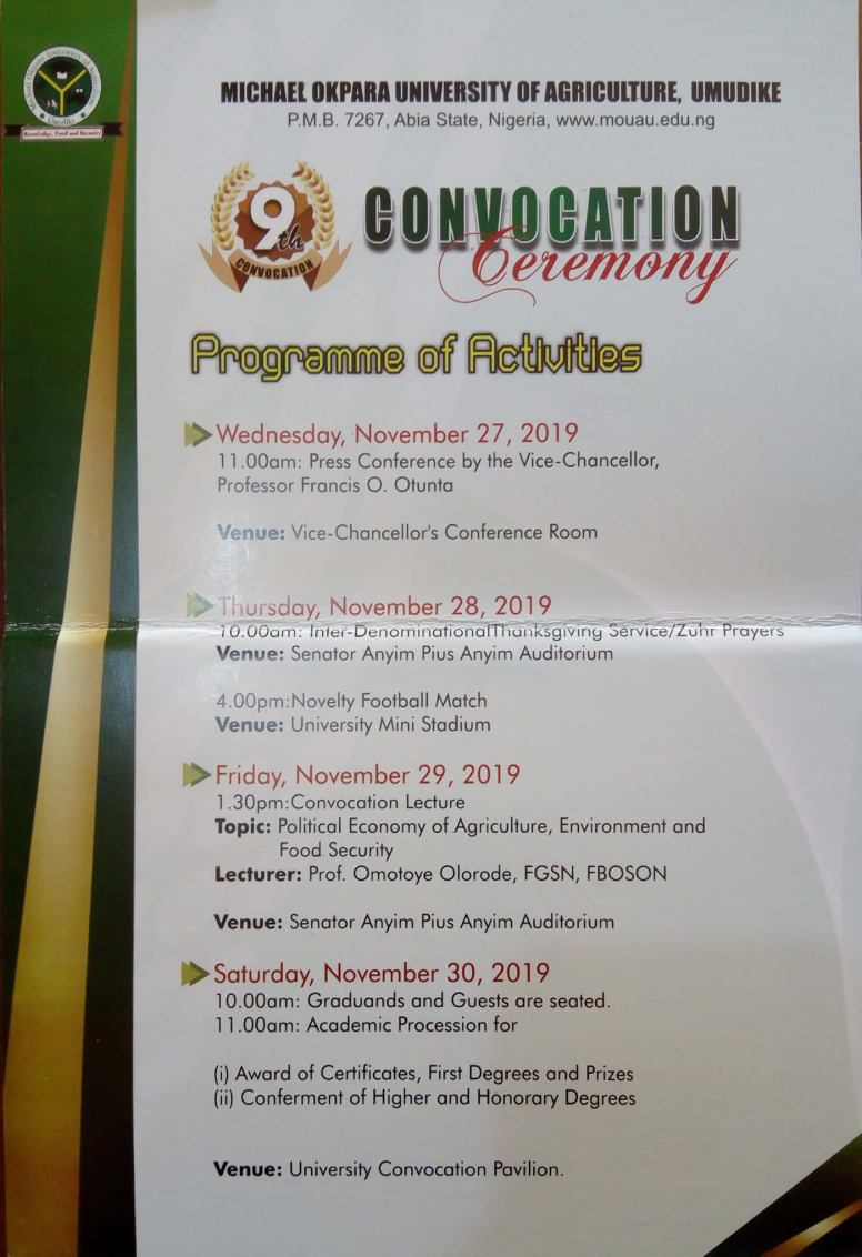 mouau 9th convocation ceremony programme of events