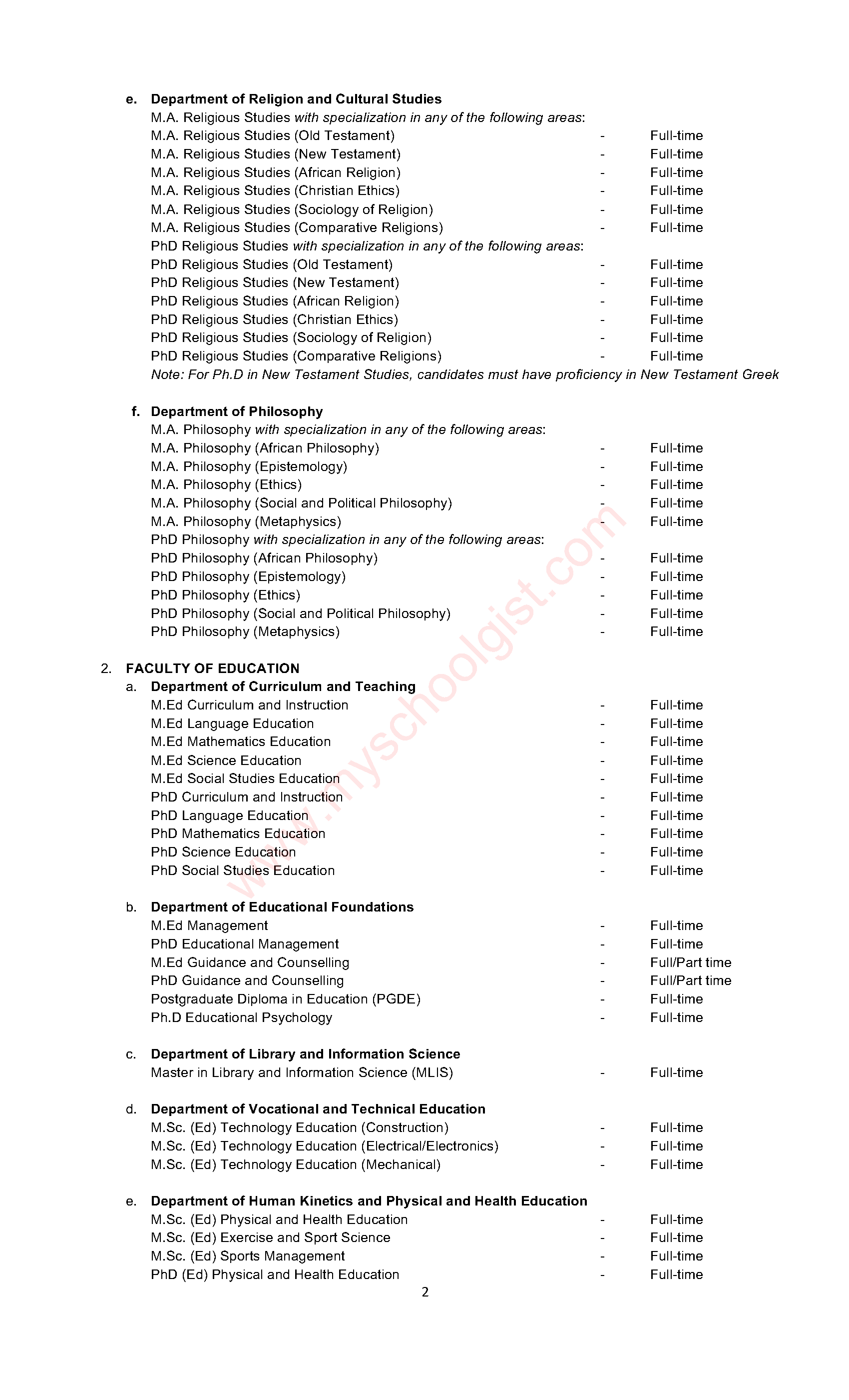 Benue State University (BSU) Postgraduate Courses