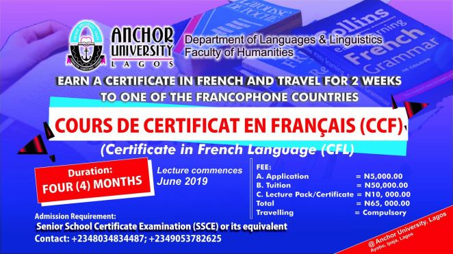 Anchor University Lagos (AUL) Certificate in French Language (CFL) Admission Form Advert