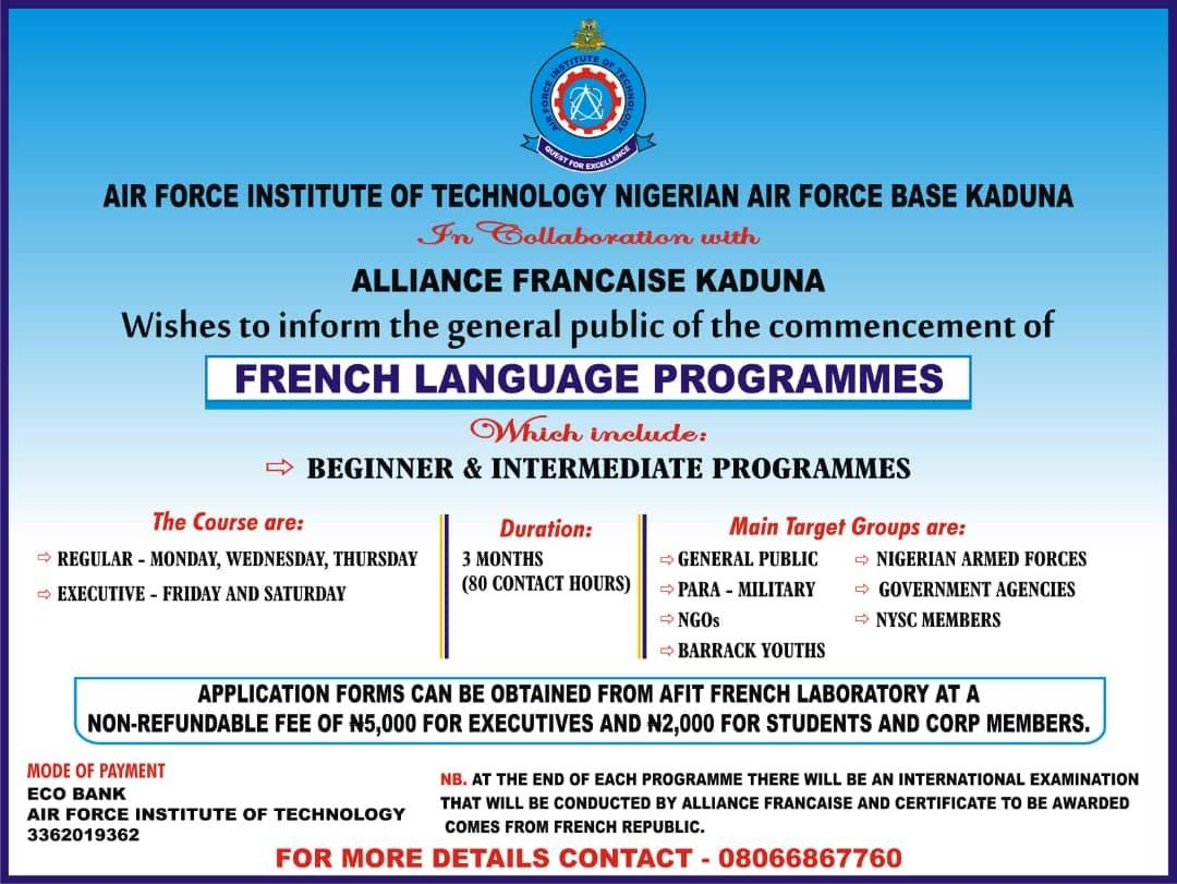 AFIT French Language Programmes Admission Form