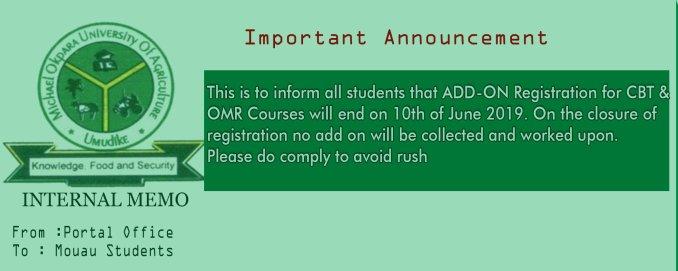 MOUAU CBT and OMR courses registration