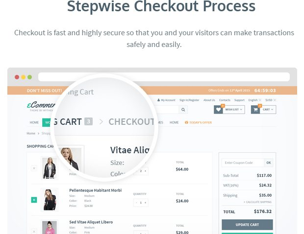 Stepwise Checkout Process