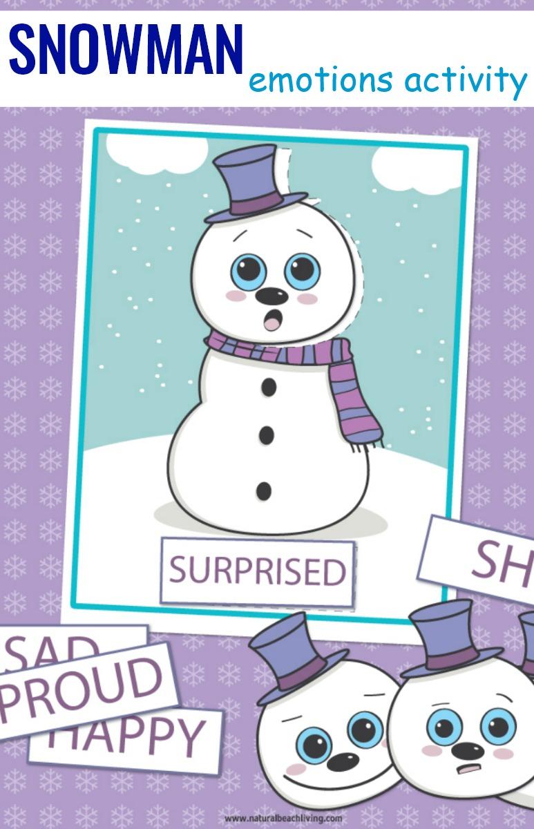 preschool emotions printables snowman