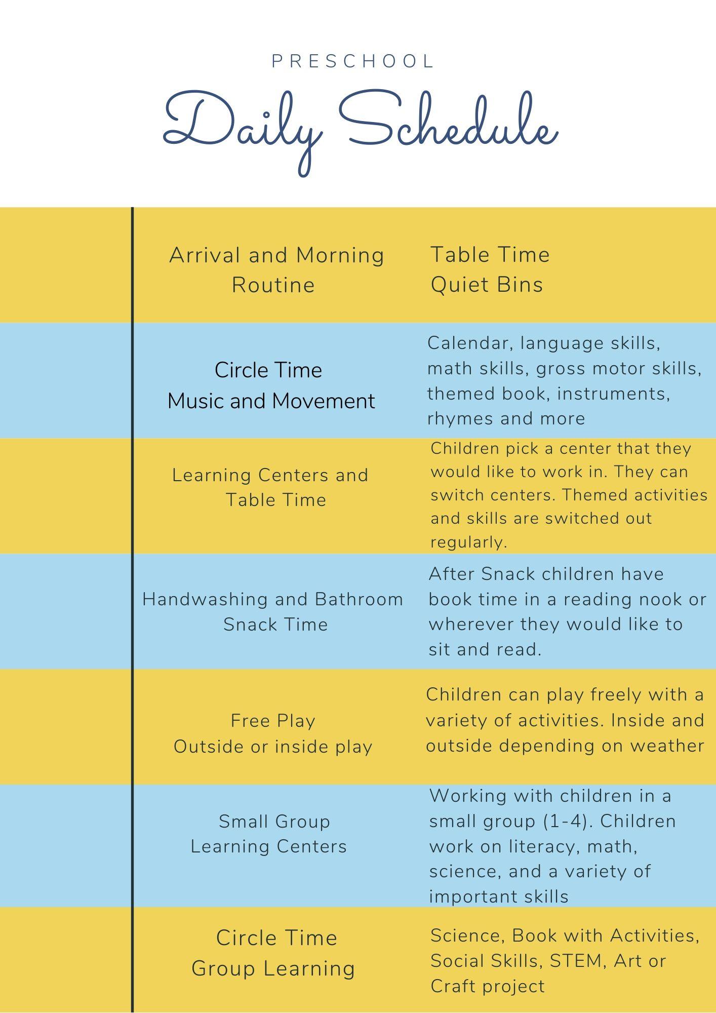 Preschool Daily Schedule Ideas