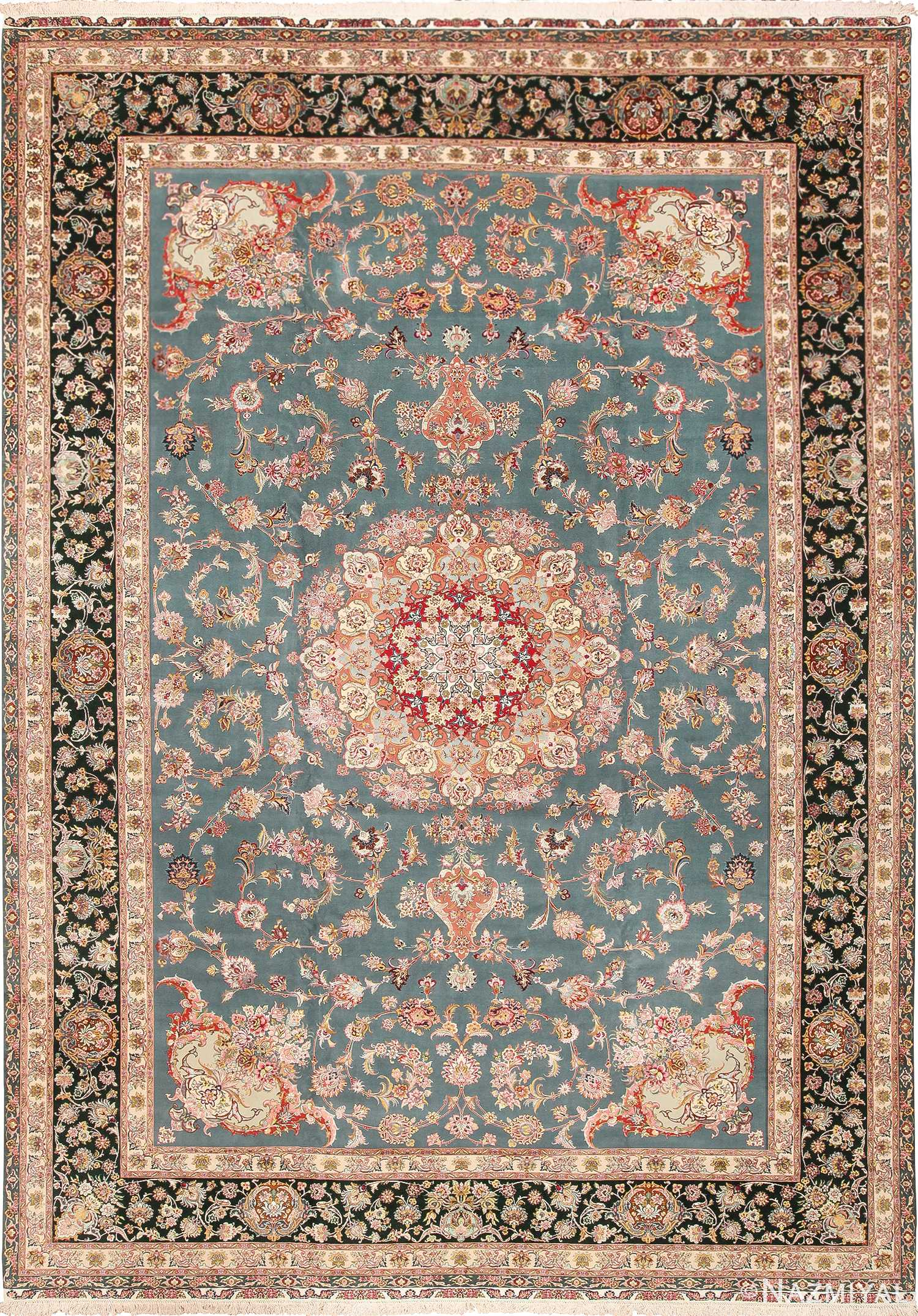 Large Fine Silk And Wool Vintage Persian Tabriz Rug 60027