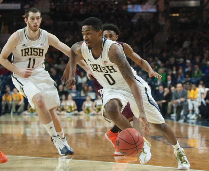 Irish senior guard Eric Atkins drives during Notre Dame's 70-63 win over Virginia Tech on Jan. 19, the team's only win in its last six games.
