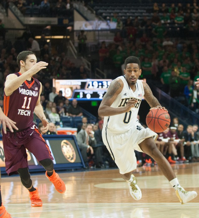 Irish senior guard Eric Atkins drives to the basket during Notre Dame's 70-63 win over Virginia Tech on Sunday. Atkins scored 24 points in Notre Dame's 76-74 loss at Florida State on Tuesday evening.