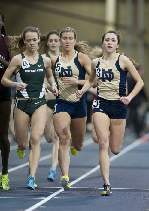 Irish sophomore Danielle Aragon and junior Kaileen Healey push the pace during the 800-meter run during the Notre Dame Invitational on Saturday.
