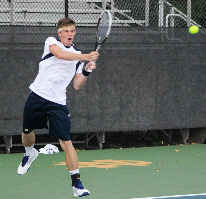 Sophomore Alex Lawson returns a shot in the Bobby Bayliss Invitational on Oct. 5. Lawson and senior Greg Andrews won their doubles matches against Kentucky and Minnesota on Friday and Saturday.