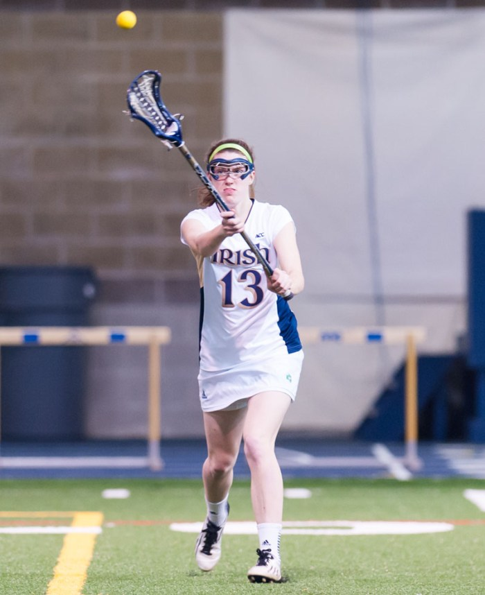 Irish junior midfielder Caitlin Gargan, shown during Notre Dame's scrimmage Feb. 12 vs. Cincinnati, scored four goals Saturday against Boston College.