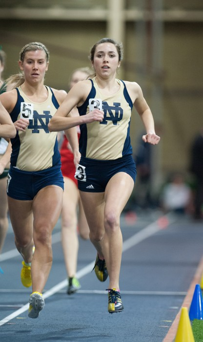 Irish sophomore middle-distance runner Danielle Aragon, right, competes during the Notre Dame Invitational on Jan. 25.