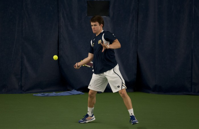 Irish senior Greg Andrews lines up a shot during Notre Dame's 4-3 victory over Kentucky on Feb. 2.  Andrews is currently ranked No. 37 in the nation in singles play.