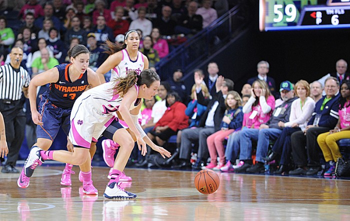 Irish sophomore guard Michaela Mabrey chases down the ball during Notre Dame's 101-64 win over Syracuse at Purcell Pavilion on Sunday. Mabrey scored 18 points during the game.