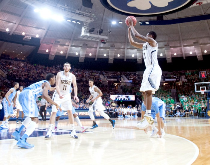 Senior guard and captain Eric Atkins releases a jump shot against North Carolina on Feb. 8 at Purcell Pavilion.