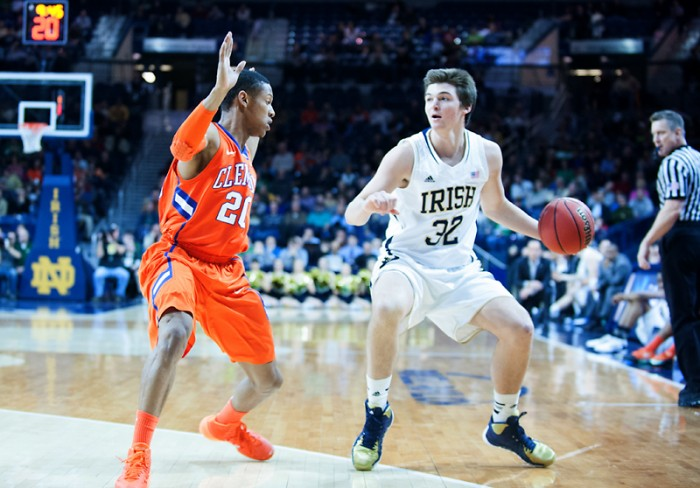 Irish freshman guard Steve Vasturia controls the ball during Notre Dame's 68-64 win (2OT) over Clemson in the Purcell Pavilion on Feb. 11.