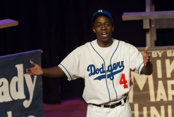 "An actor portrays baseball great Jackie Robinson in the play ""Everybody's Hero"" in the Saint Mary's O'Laughlin Auditorium on Monday."