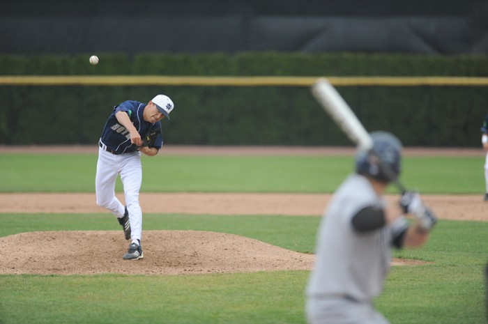 Irish senior pitcher Sean Fitzgerald delivers a pitch during a game in 2012. Fitzgerald will pitch Saturday against Incarnate Word in the Irish Baseball Classic.