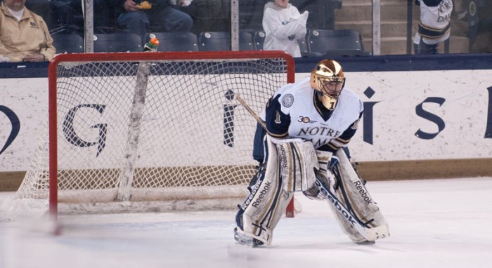 Irish senior goalkeeper Steven Summerhays crouches in net in Notre Dame's 2-1 loss to Maine on Feb. 7. Summerhays stopped 83 of 85 shots he faced in two games over the weekend.