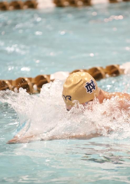 Irish junior Cameron Miller swims in the 200-yard individual medley at the Shamrock Invitational on Jan. 31.