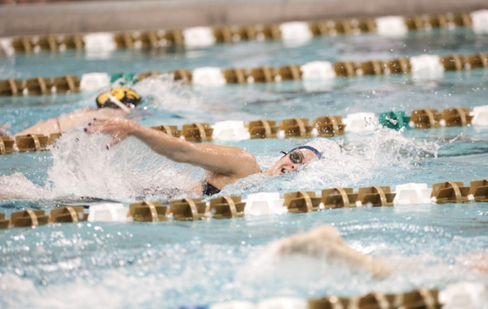 Irish junior Suzanne Bessire swims the freestyle during the  Shamrock Invitational on Jan. 31.