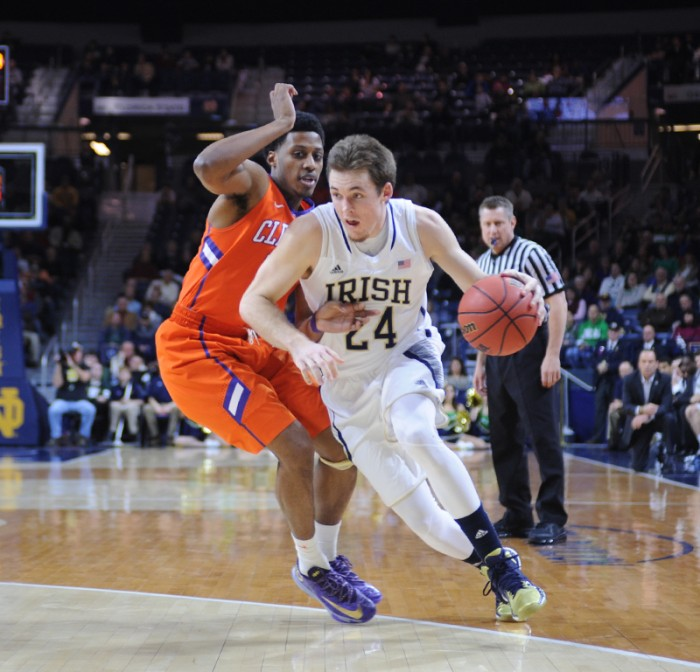Irish junior Pat Cannaughton attacks the basket during Notre Dame's 68-64 double overtime victory over Clemson on Tuesday.