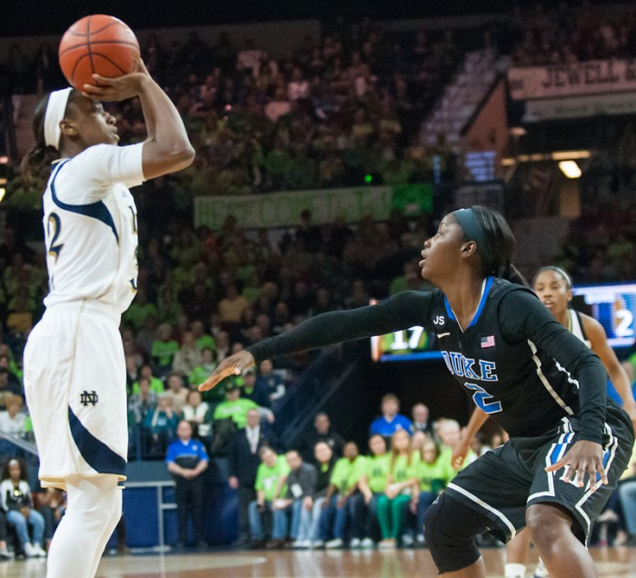 Sophomore guard Jewell Loyd sets up for a jump shot while guarded by Duke sophomore guard Alexis Jones on Sunday.