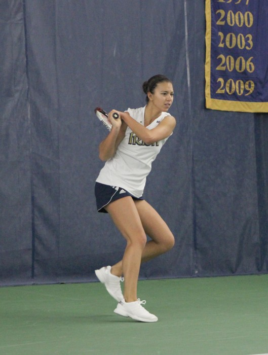 Irish senior Britney Sanders returns a volley during Notre Dame's 4-3 victory over Indiana on Feb. 2 at Eck Tennis Pavilion.
