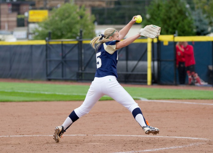 Irish junior pitcher Allie Rhods winds up for a pitch in a game against Illinois State on Sept. 15, 2013. Rhodes started Wednesday's game against Eastern Michigan and gave up two runs in the first inning.