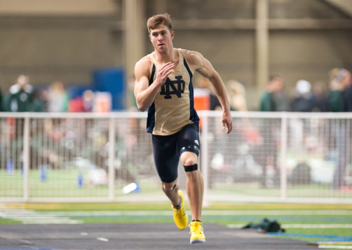 Irish graduate student Ted Glasnow races at the Notre Dame Invitational on Jan. 25. Glasnow participated in the decathlon Wednesday.