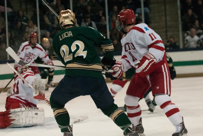 Irish sophomore forward Mario Lucia takes a shot during Notre Dame's 2-0 victory over Boston University on Feb. 22.