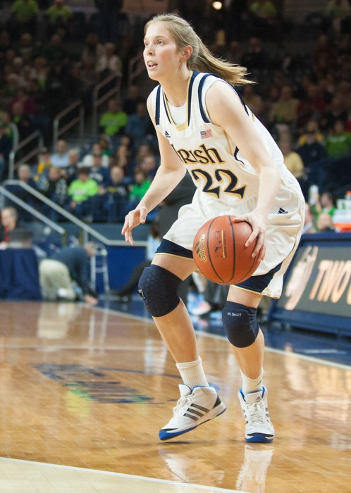 Junior guard Madison Cable line up a 3-point shot during Notre Dame's 100-75 win over North Carolina on Feb. 27.
