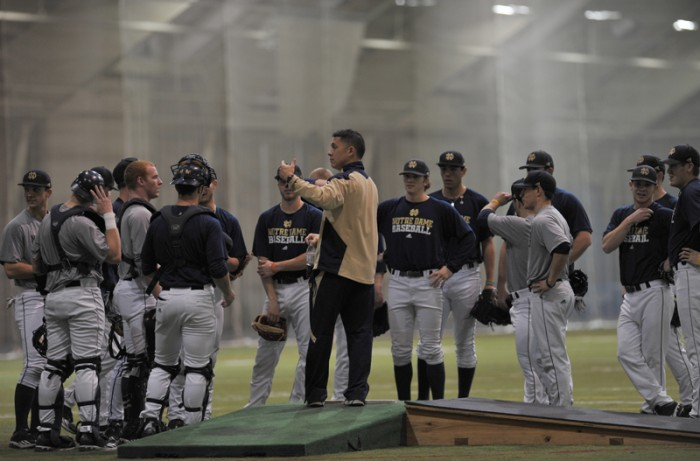 Irish coach Mik Aoki speaks to his team in this file photo from Jan. 27, 2013.