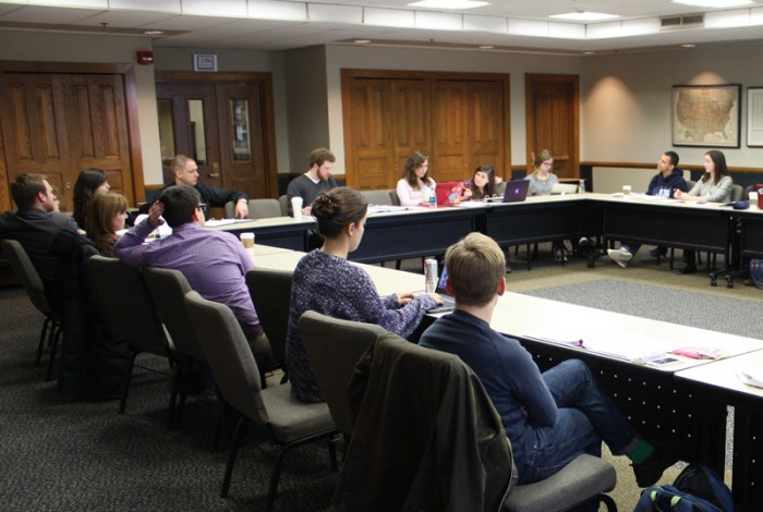 Members of the Campus Life Council (CLC) meet in the Notre Dame Room of the LaFortune Student  Center on Monday afternoon. The CLC moved to institute a prayer service after sexual assault reports.