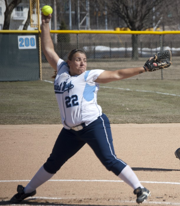 Senior pitcher Callie Selner winds up for a pitch in the Belles' 5-1 win over Defiance on March 2. Seiner has a 1.98 ERA so far this season.