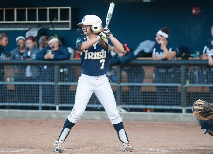 Junior infielder Jenna Simon awaits the pitch during an exhibition on Nov. 9, 2013.