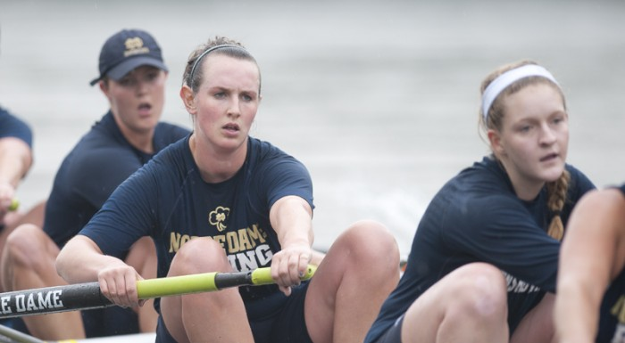 Junior Ailish Sheehan, along with the first varsity eight, rows at the Oak Ridge Invitational on March 16 against Duke.