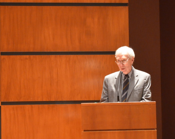 Business professor Patrick Murphy speaks at the Frank Cahill Lecture in Business Ethics on Monday.
